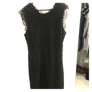 Black lace dress with peek a boo back